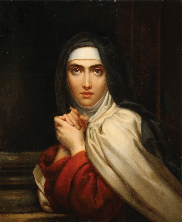 """François Gérard - St Theresa (detail)"" von François Gérard - http://wdtprs.com/blog/2015/03/happy-birthday-st-teresa-of-avila/ – image. Lizenziert unter Gemeinfrei über Wikimedia Commons - https://commons.wikimedia.org/wiki/File:Fran%C3%A7ois_G%C3%A9rard_-_St_Theresa_(detail).jpg#/media/File:Fran%C3%A7ois_G%C3%A9rard_-_St_Theresa_(detail).jpg"
