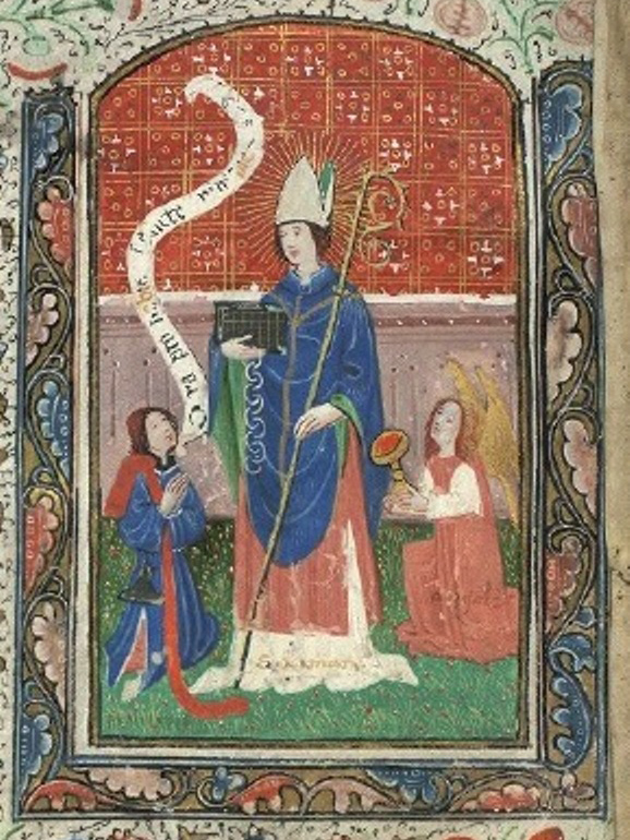 """Ninian of Whithorn"" von Unbekannt - Book of Hours of the Virgin and Saint Ninian. Lizenziert unter Gemeinfrei über Wikimedia Commons - https://commons.wikimedia.org/wiki/File:Ninian_of_Whithorn.jpg#/media/File:Ninian_of_Whithorn.jpg"