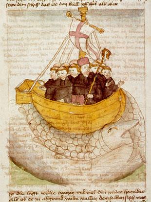 """Saint brendan german manuscript"" von Unknown mediaeval scribe. - University of Augsburg, Germany (image). Lizenziert unter Gemeinfrei über Wikimedia Commons - https://commons.wikimedia.org/wiki/File:Saint_brendan_german_manuscript.jpg#/media/File:Saint_brendan_german_manuscript.jpg"